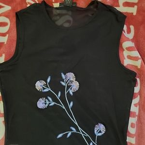 Black express see through top embroidered
